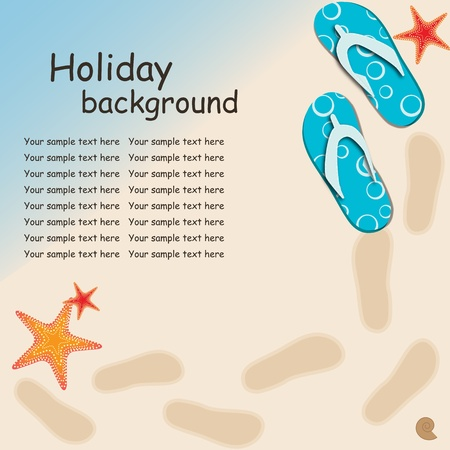 flop: sandals and starfish at beach nature summer vector background