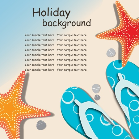 flip flops on the beach: sandals and starfish at beach nature summer vector background