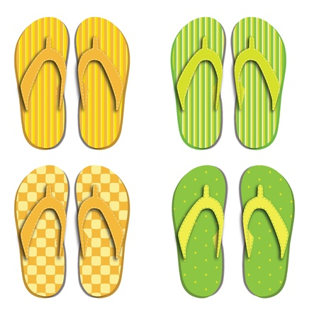 Set flip flops isolated on white background Vector