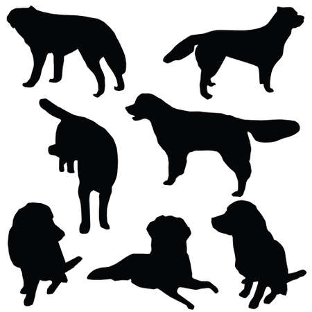 Set of dogs silhouette isolated Vector