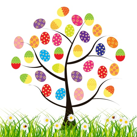 animal egg: vector easter tree with eggs
