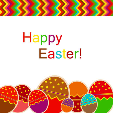 manic: Easter eggs card with colourful eggs  vector illustration