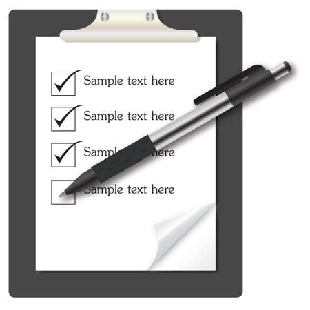 abstract list icon with pen vector illustration on business theme illustration