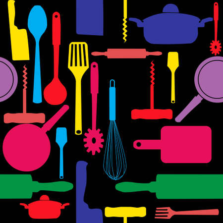 cookware: Vector seamless pattern of kitchen tools  Illustration