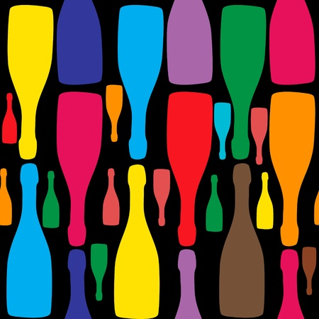 wine dinner: Vector background with bottles  Good for restaurant or bar menu design