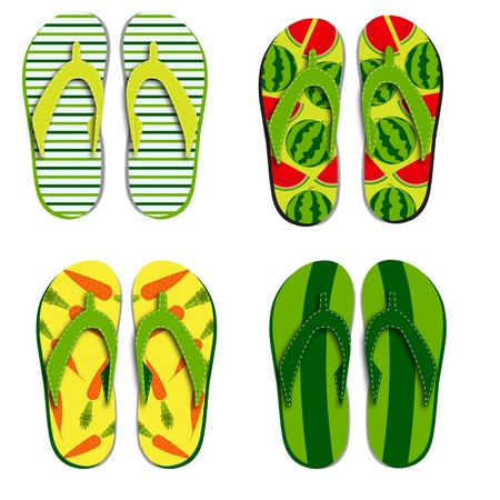 Set flip flops isolated on white background Stock Vector - 12709966