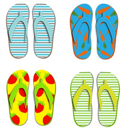 Set flip flops isolated on white background Stock Vector - 12709963