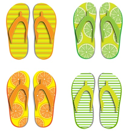 water shoes: Set flip flops isolated on white background Illustration