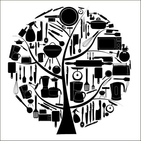 vector illustratie van keuken tools voor het koken Vector Illustratie