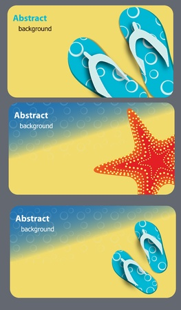 sandals and starfish at beach nature summer vector background Vector