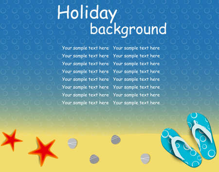 flip: sandals and starfish at beach nature summer vector background
