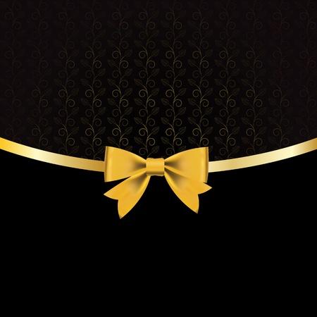 ruban noir: Illustration de cru floral vecteur de fond
