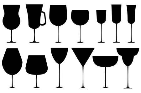 Set of black alcoholic glass. Vector