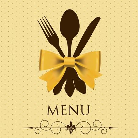 couteau fourchette cuill�re: Le concept de vecteur Carte du restaurant Illustration