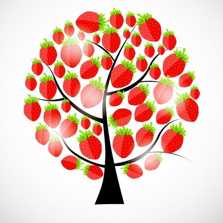 beautiful strawberries tree  vector illustration