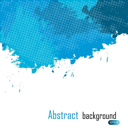 Blue abstract paint splashes illustration. Background with place for your text. Vector
