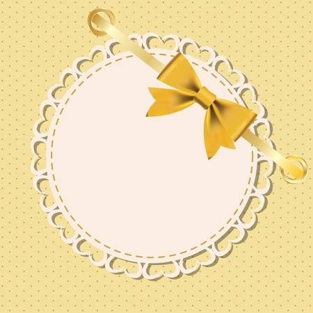 round frame: Greeting card with frame and bow. Space for your text or picture.