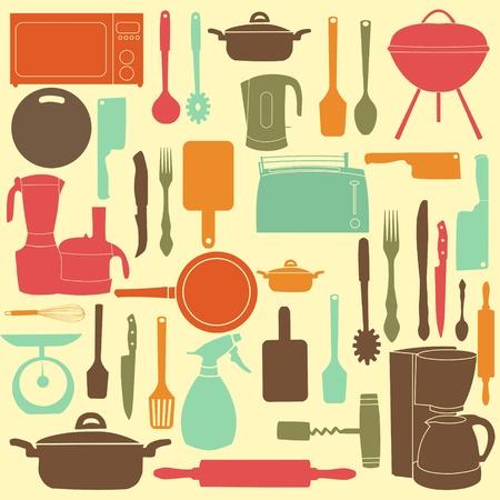 kitchen tools: illustratie van keukengerei om te koken