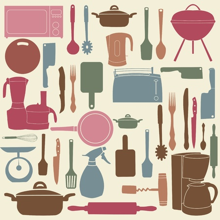 illustration of kitchen tools for cooking Vector