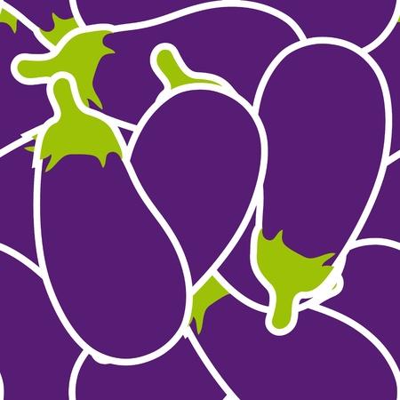 Eggplants seamless pattern background Vector