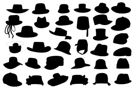 sombrero de charro: Colecci�n de carteras silueta ilustraci�n aisladas sobre fondo blanco. Vectores