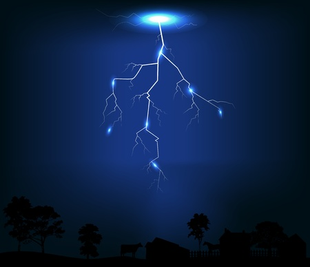 Illustration of  Lightning of dark blue background Vector