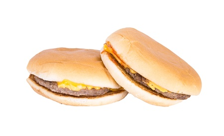 Two burger isolated on white background. photo