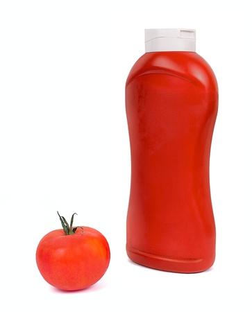 Ketchup, tomato sauce on white photo