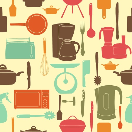 vector illustration seamless pattern of kitchen tools for cooking Stock Vector - 13008284