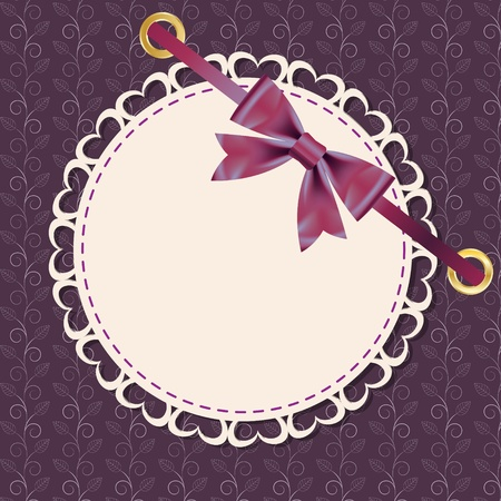 Vector greeting card with frame and bow. Space for your text or picture. Vector