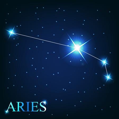 aries: vettoriale del segno zodiacale Ariete delle bellissime stelle luminose sullo sfondo del cielo cosmico Vettoriali