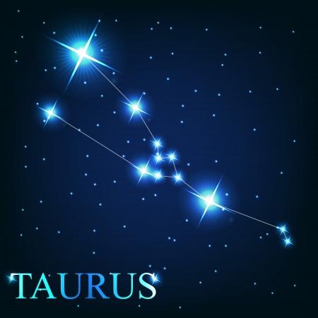 황소 자리: 우주 하늘의 배경에 아름 다운 밝은 별의 황소 조디악 표지판의 벡터