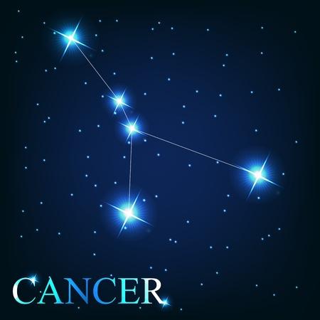 constelacion: vector de la muestra del zodiaco del c�ncer de las hermosas estrellas brillantes en el fondo del cielo c�smico