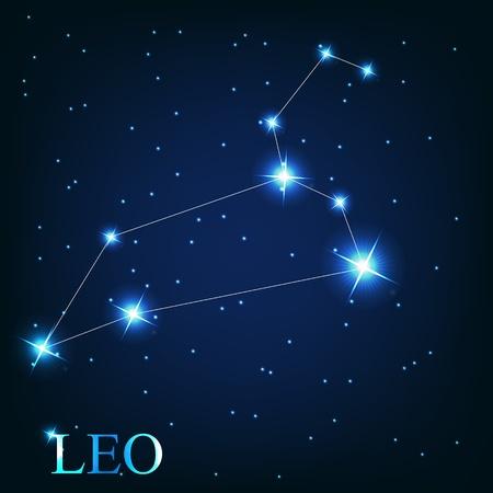constelacion: vector de el signo zodiacal de Leo de las hermosas estrellas brillantes en el fondo del cielo c�smico