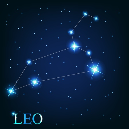 vector of the leo zodiac sign of the beautiful bright stars on the background of cosmic sky Vector