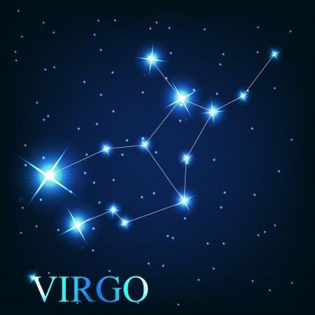 jungfrau: Vektor der Sternzeichen Jungfrau der sch�nen hellen Sternen auf dem Hintergrund der kosmischen Himmel Illustration