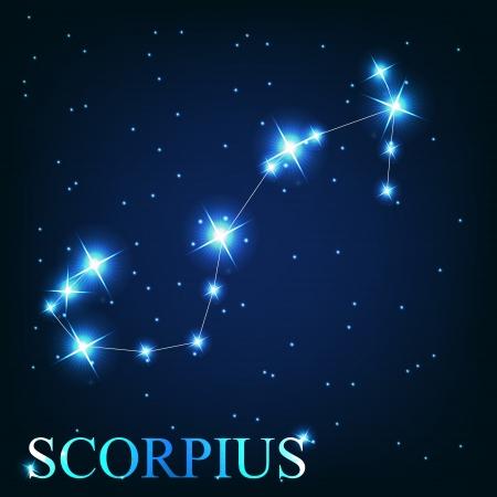 constellations: vecteur du signe du zodiaque scorpius des belles �toiles brillantes sur le fond de ciel cosmique