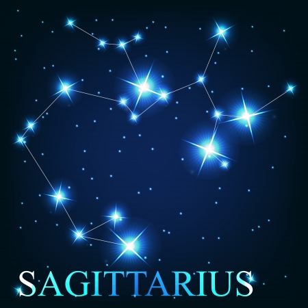 sagittarius: vector of the sagittarius zodiac sign of the beautiful bright stars on the background of cosmic sky