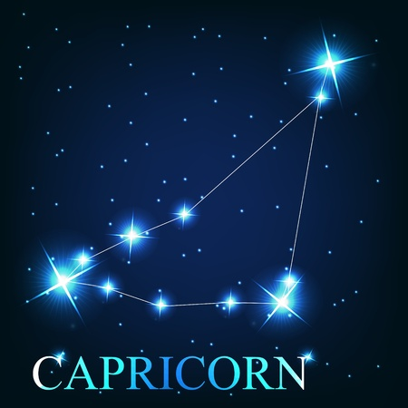 prognosis: vector of the capricorn zodiac sign of the beautiful bright stars on the background of cosmic sky Illustration