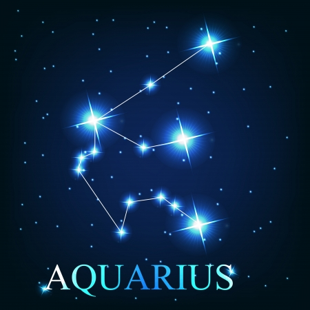 zodiacal symbol: vector of the aquarius zodiac sign of the beautiful bright stars on the background of cosmic sky Illustration