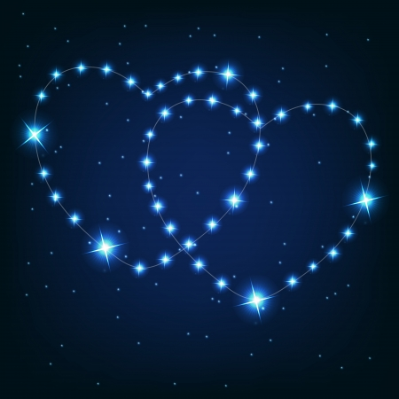 Two love heart from beautiful bright stars on the background of cosmic sky Vector