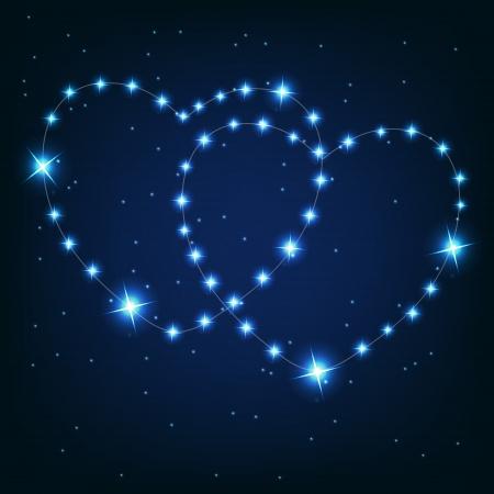 Zwei Herzen aus Liebe schöne helle Sterne auf dem Hintergrund der kosmischen Himmel Vektorgrafik