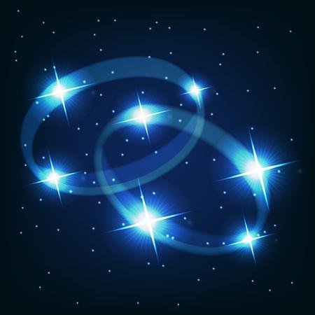 constelaciones: Dos anillos de boda hermosas estrellas brillantes en el fondo de cielo c�smico Vectores