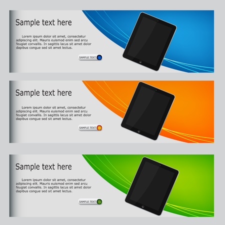 button layout: vector website headers, tablet promotion banners Illustration