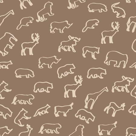 wild animals hand drawn seamless pattern background Vector