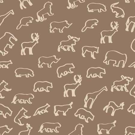 wilde dieren hand getekende naadloze patroon achtergrond Vector Illustratie