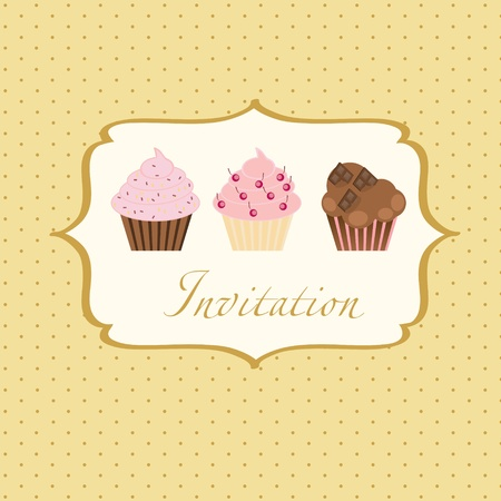 cupcake invitation background Vector