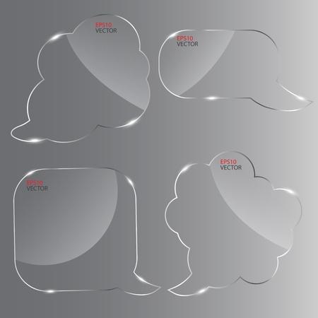 Set of realistic glass speech bubbles. Vector illustration. Stock Vector - 13113227