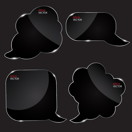 baner: Set of realistic glass speech bubbles. Vector illustration.