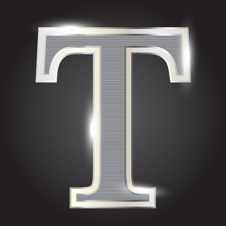 letras cromadas: Plata metálica fuentes ilustración vectorial